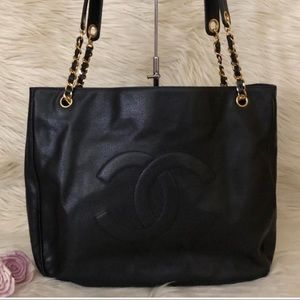Stunning Authentic CHANEL 24k gold/Caviar tote